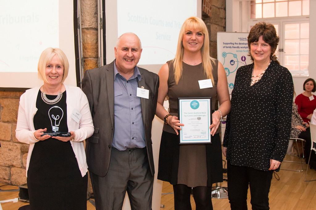 (L-R) Susan McManus, HR Adviser, SCTS ; Geoff Kitchener, Customer Relationship Manager, Centrica; Elena Poulos, Chair Carer Contact Group, SCTS; Sarah Jackson, OBE, CEO Working Families.